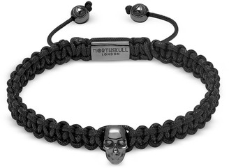 Northskull Atticus Skull Macrame Bracelet In Black And Gunmetal