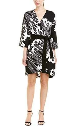 Halston Women's Long Sleeve Printed Kimono Dress with Sash