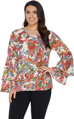 Linea By Louis Dell'olio by Louis Dell'Olio Exotic Floral Print Top