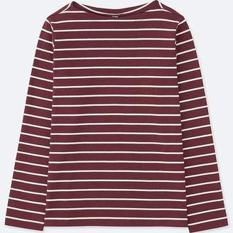 Uniqlo Women's Striped Boat Neck Long-sleeve T-Shirt
