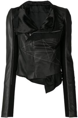Rick Owens geometric embroidered wrap jacket