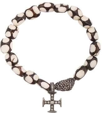 Loree Rodkin 18kt gold bone Maltese cross bracelet
