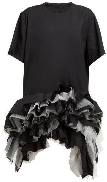 Junya Watanabe - Ruffled Tulle Tiered Wool Dress - Womens - Black