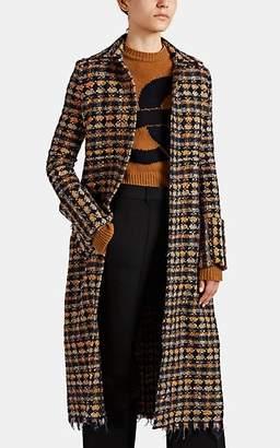 Victoria Beckham Women's Tweed Long Coat - Navy