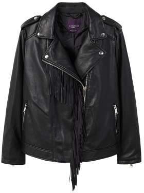 Violeta BY MANGO Fringe biker jacket
