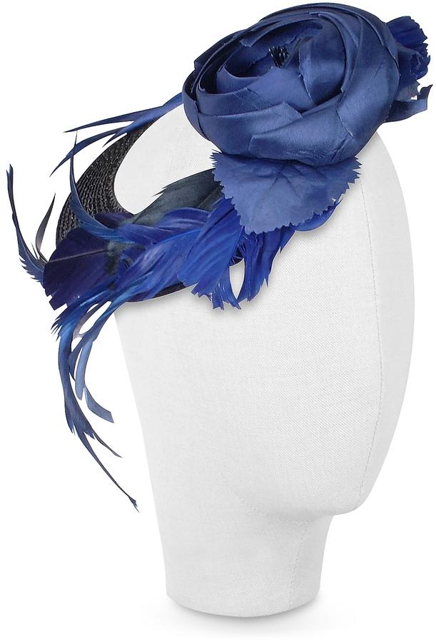 Nana' Alba - Night Blue Flower Feather Hat Disc