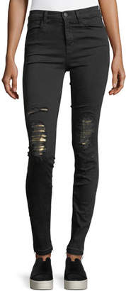 J Brand Maria High-Rise Skinny Jeans w/ Distressed Metallic Knees