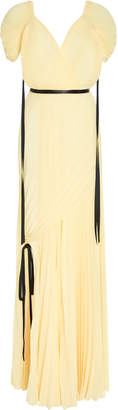 Tre By Natalie Ratabesi The Bovary Front Slit Pleated Chiffon Gown