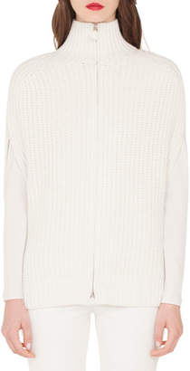 Akris Gilet-Knit Cashmere Mock-Neck Zip-Front Cardigan