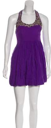 Tibi Embellished Silk Mini Dress