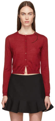 RED Valentino Red Cashmere and Silk Cropped Cardigan