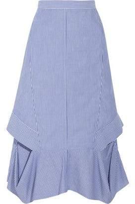 Chalayan Cutout Striped Cotton-Poplin Midi Skirt