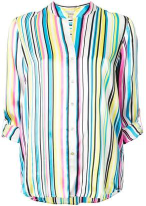 L'Agence striped cropped sleeves shirt