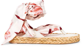 Zimmermann Scarf Tie Espadrille in Ivory & Peach Orchid | FWRD