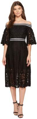 Laundry by Shelli Segal Off the Shoulder Midi Lace Dress with Scallop Hem Women's Dress