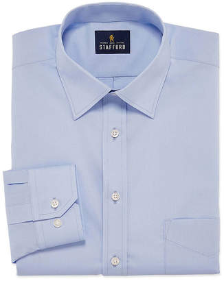 STAFFORD Stafford Travel Easy-Care Broadcloth Mens Point Collar Long Sleeve Wrinkle Free Stretch Dress Shirt