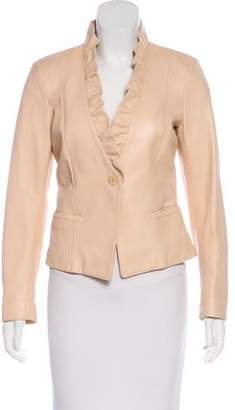 Max Mara Ruffled Leather Blazer