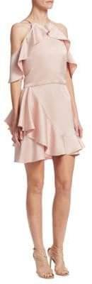 Halston Cold-Shoulder Flounce Dress