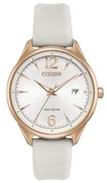 Citizen Eco-Drive White Textured Silicone Strap Watch