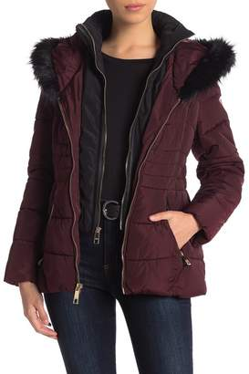 GUESS Faux Fur Trimmed Hooded Jacket