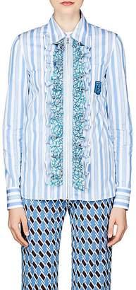Prada Women's Ruffle Striped Cotton Poplin Shirt