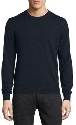 Moncler Virgin Wool Logo Crewneck Sweater, Navy $345 thestylecure.com