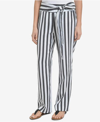NY Collection Striped Sash-Belt Soft Pants