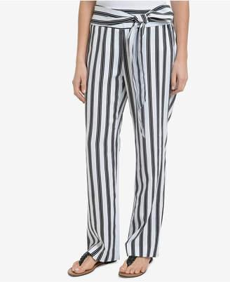 NY Collection Striped Sash-Belt Soft Pants