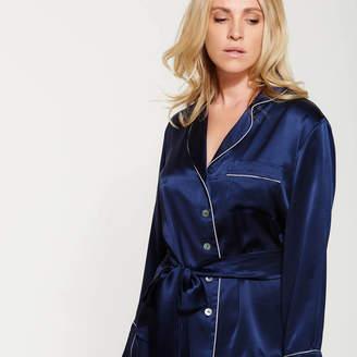 SILK   GREY Navy Short Silk Pyjama Set f9d54a4cd