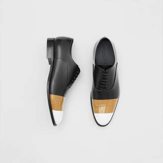 Burberry Tape Detail Leather Oxford Shoes