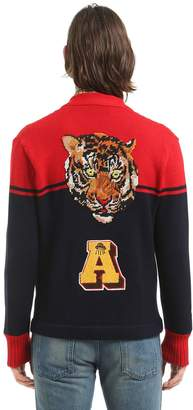 Gucci Wool Cardigan W/ Tiger Patch On Back
