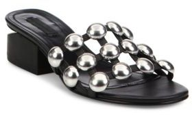 Alexander Wang Lou Tilt-Heel Studded Leather Slides $495 thestylecure.com