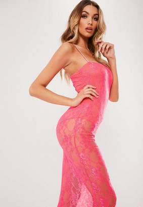Missguided Neon Pink Lace Midi Dress