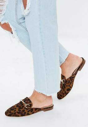 Missguided Brown Leopard Print Faux Suede Flat Mules, Leopard