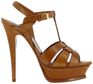 Saint Laurent Heeled Sandals Tribute Sandal In Matt Effect Leather With Stiletto Heel