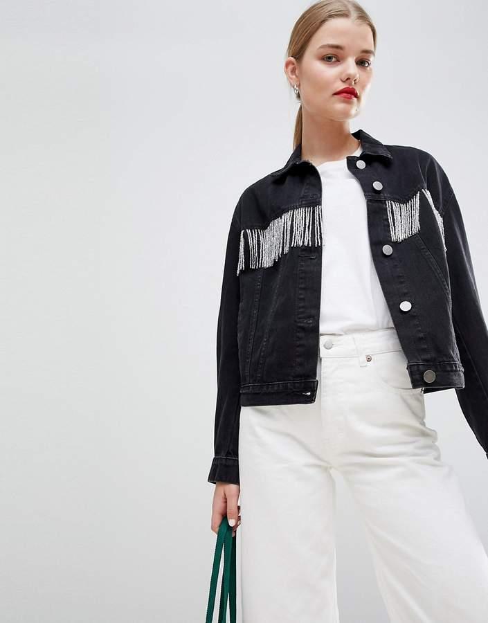 DESIGN – Jeansjacke in verwaschenem Schwarz mit Perlenfransen