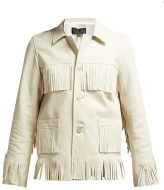 Nili Lotan Frida Fringed Leather Jacket - Womens - Ivory