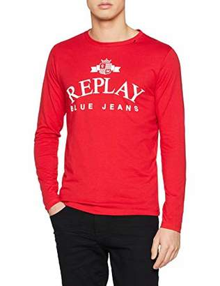 Replay Men's M3724 .000.2660 Long Sleeve Top, (Tomato Red 353)