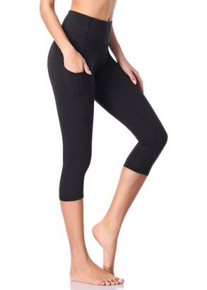 6c704d6c4644fb MissTalk Yoga Pants for Women Workout Capri Running Leggings Training  Tights Joggers Pockets/L