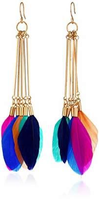 Panacea Women's Feather Linear Drop Earrings