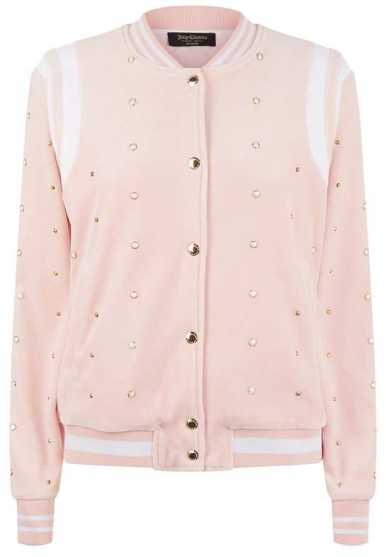Faux Pearl Embellished Bomber Jacket