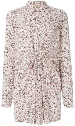 Saint Laurent ruched floral shirt dress