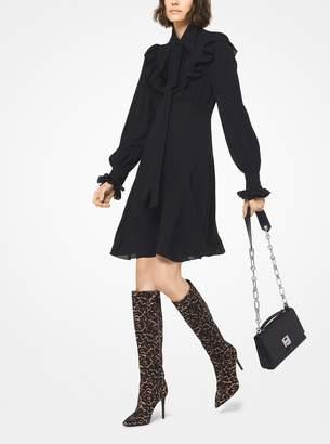Michael Kors Ruffled Silk-Georgette Tie-Neck Dress