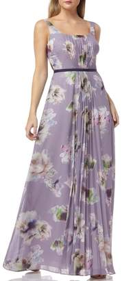 Kay Unger Floral Print Pleated Chiffon Evening Dress