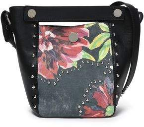 3.1 Phillip Lim Studded Paneled Floral-Print Leather Bucket Bag