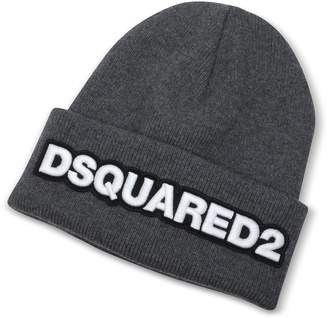 DSQUARED2 Embroidered Logo Anthracite Wool Beanie
