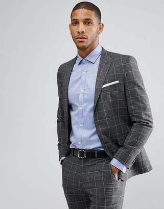 Moss Bros Skinny Suit Jacket In Check