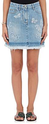 Valentino Women's Butterfly-Embroidered Denim Miniskirt