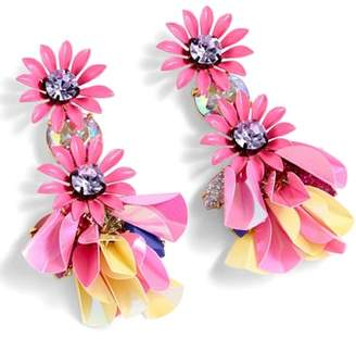 J.Crew Crystal Flower Drop Earrings