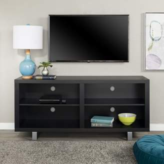 "Walker Edison 58"" Modern TV Stand Media Storage Console Entertainment Center - Black"